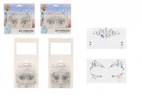 Obličejové zdobící diamanty/kamínky Ledová princezna plast 2 druhy v sáčku 18x17,5cm
