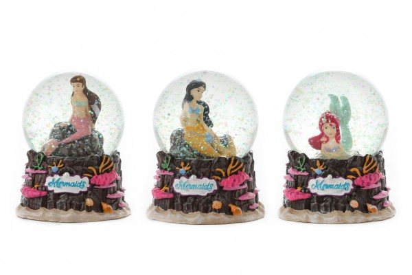 Sněhová koule/Těžítko Mořská panna 10x9cm 3 druhy v krabičce 11x13x11cm