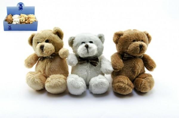 Medvěd s mašlí plyš 12cm asst 4 barvy 12ks v boxu