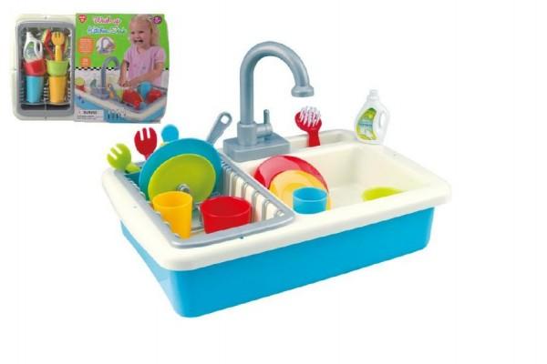 Dřez na mytí nádobí + kohoutek na vodu na baterie 20ks plast 41x28x10cm v sáčku