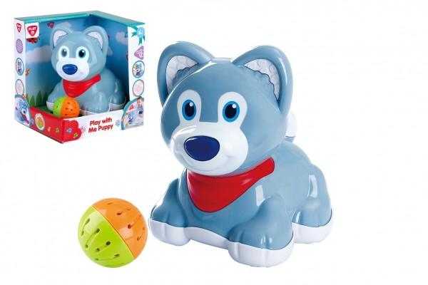 Pes/pejsek s míčkem plast na baterie se zvukem v krabici 19x20x16cm 6m+