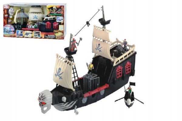 Pirátská loď plast 60cm na baterie se zvukem v krabici