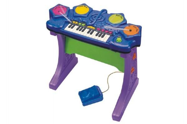 Piáno/klávesy s bubny plast 58x53x29cm na baterie se zvukem v krabici