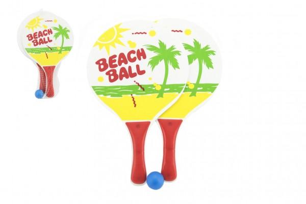 Plážová sada pálky 2ks dřevo 23x38cm s míčkem v síťce