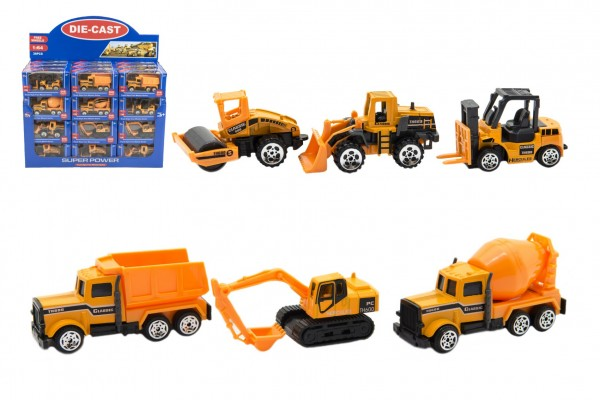 Auto stavební kov/plast 8cm na volný chod mix druhů v krabičce 12x6xx5cm 36ks v boxu