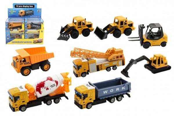 Stavební stroje kov/plast 10-12cm mix druhů v krabičce 16x10x6cm 12ks v boxu