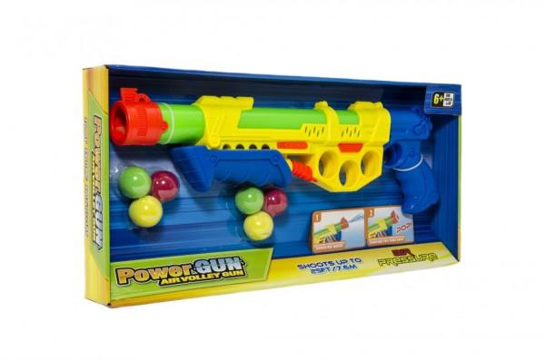 Pistole vodní stříkací pumpa+měkké míčky 6ks plast 45cm 2 barvy v krabici 50x23x5cm