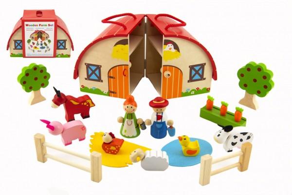 Domeček dřevěná farma s doplňky 15 ks ve fólii 24x15x12cm