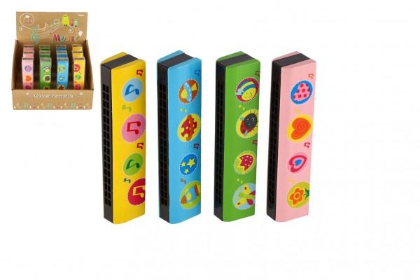 Harmonika dřevěná 13cm 4 barvy v blistru 12ks v boxu