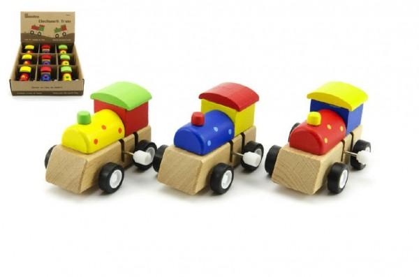 Mašinka na klíček dřevo 7cm asst 3 barvy 9ks v boxu