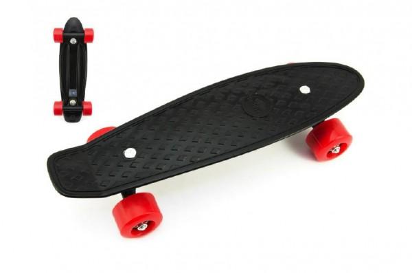 Skateboard - pennyboard 43cm, nosnost 60kg plastové osy, černá, červená kola