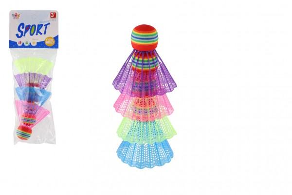 Míčky/Košíčky na badminton barevné 4ks plast v sáčku 10,5x27x5cm
