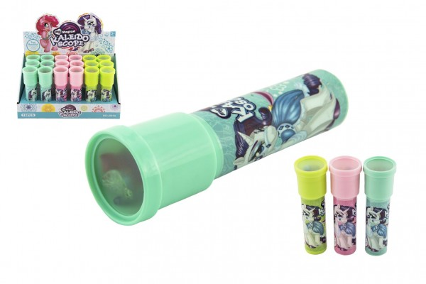 Kaleidoskop - Krasohled Jednorožec plast 13cm 3 barvy 18ks v boxu
