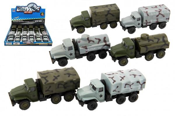 Auto vojenské plast 12cm na zpětné natažení 2 barvy 12ks v boxu