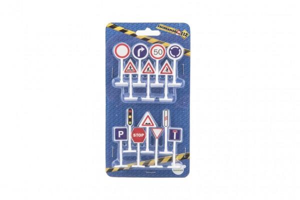 Dopravní značky 14ks plast 5,5cm na kartě