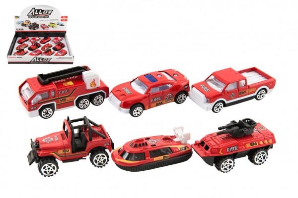 Auto hasiči kov/plast 7cm na volný chod mix druhů 12ks v boxu