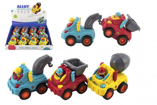 Auto stavební s panáčkem plast 8-10cm na setrvačník 3 druhy 12ks v boxu