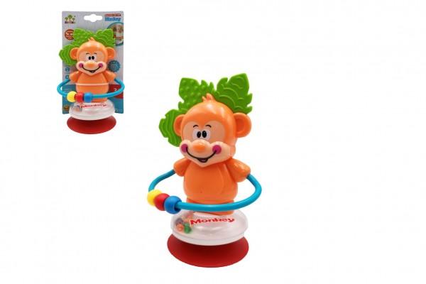 Chrastítko opička s přísavkou plast 18cm na kartě v sáčku 3m+