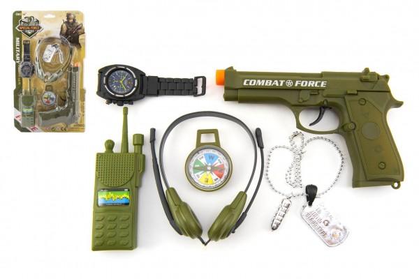 Vojenská sada s pistolí klapací 12x20cm plast na kartě 22x37cm
