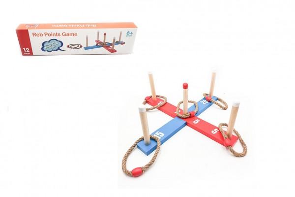 Házecí hra kříž s kruhy dřevo/provaz 12ks v krabici 43x12x5cm
