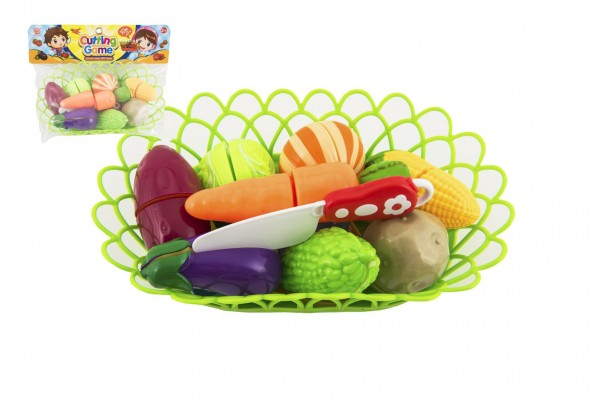 Zelenina krájecí v košíku plast s doplňky v sáčku 29x22x6cm