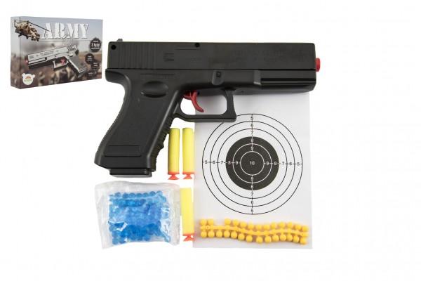 Pistole na kuličky 20cm plast + vodní kuličky 6mm,pěnové náboje 3ks,gumové kul. v krabičce 23x15x4cm