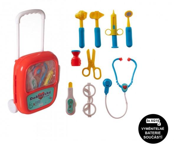 Sada doktor/lékař plast se stetoskopem na baterie v plastovém kufříku na kolečkách 24x33x10cm