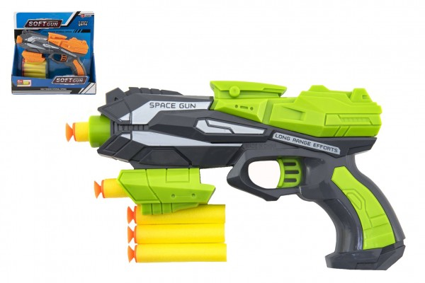 Pistole na pěnové náboje 20x14cm plast + 5ks nábojů 2 barvy na kartě