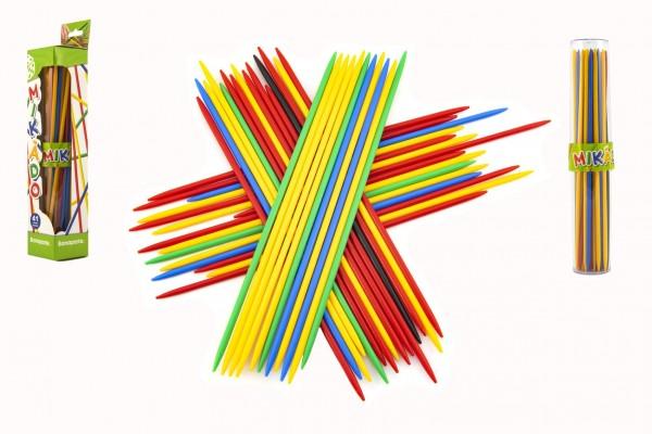 Mikádo společenská hra 41ks plast 24,5cm v plastovém pouzdru v krabičce 5,5x30x5,5cm