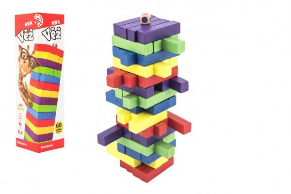Hra věž dřevěná 60ks barevných dílků společenská hra hlavolam v krabičce 7,5x27,5x7,5cm
