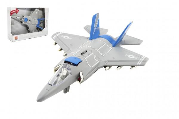 Letadlo/stíhačka plast 31cm na baterie se světlem se zvukem v krabici 32x22,5x9cm