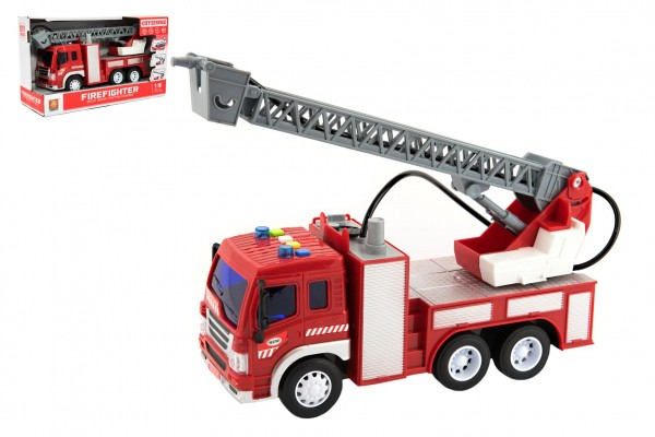 Auto hasiči stříkací vodu 30cm plast na setrvačník na bat. se zvukem se světlem v krabici 32x18x12cm