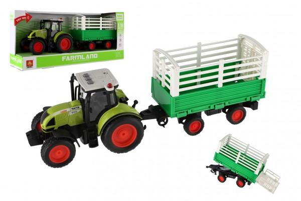 Traktor s vlekem plast 39cm na setrvačník na baterie se zvukem se světlem v krabici 42x19x12cm