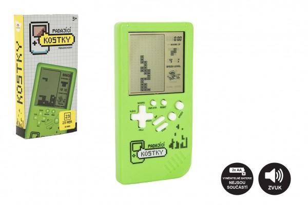 Digitální hra Padající kostky hlavolam plast 14x7cm na baterie se zvukem v krabičce 7,5x14,5x2,5cm