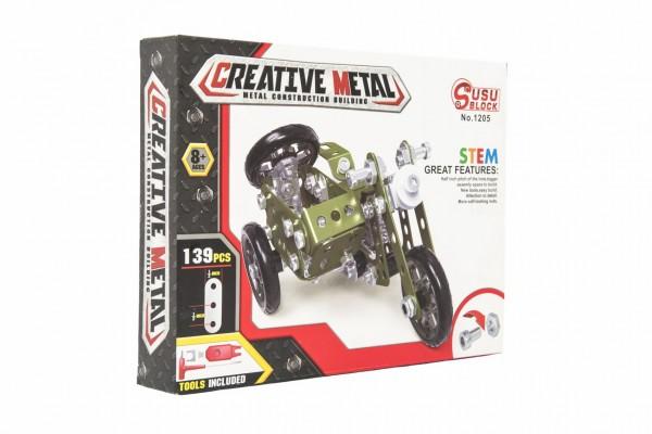 Stavebnice kovová vojenská tříkolka motorka 139 dílků v krabici 26x20x4cm