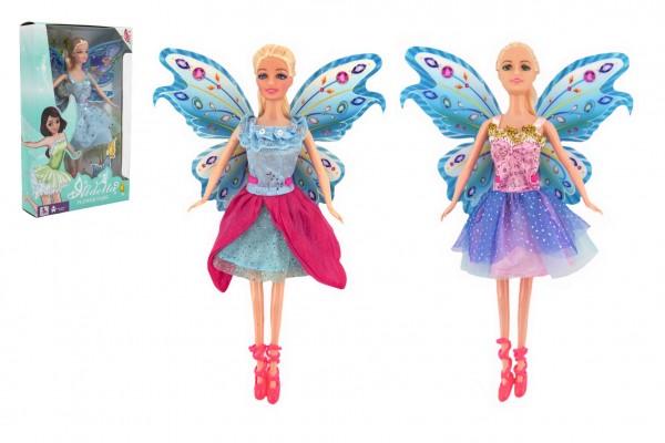 Panenka s křídly kloubová plast 30cm 2 druhy v krabici 19 x 31 x 6cm