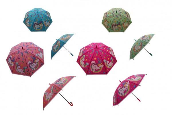 Deštník Jednorožec 66cm vystřelovací mix barev v sáčku