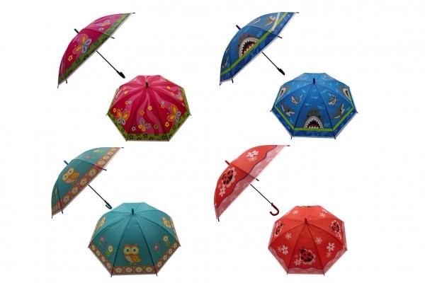 Deštník 66cm vystřelovací s píšťalkou mix barev v sáčku