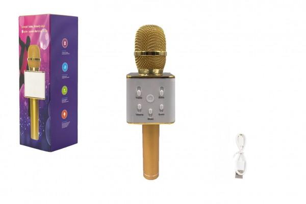 Mikrofon karaoke kov 25cm nabíjení přes USB zlatý v krabici