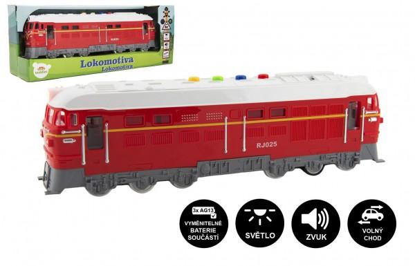 Lokomotiva/Vlak červená plast 34cm na baterie se zvukem se světlem v krabičce 41x16x12cm
