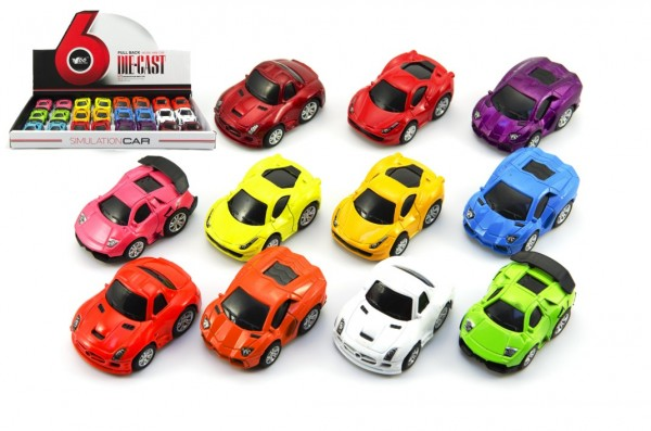 Auto mini kov/plast 5cm na zpětné natažení mix barev 24ks v boxu
