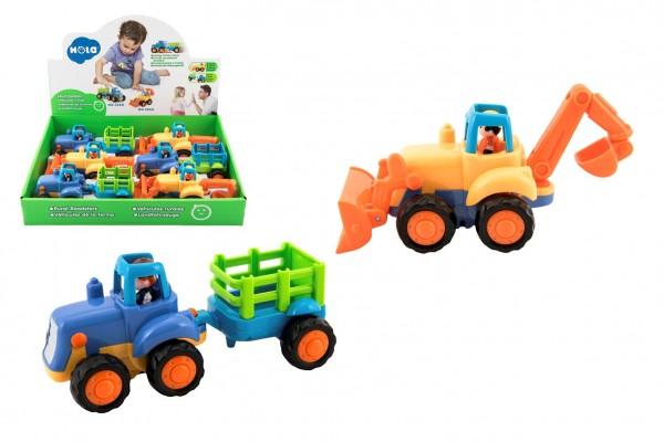 Traktor s vlekem/Buldozer plast 16cm pro nejmenší na setrvačník 6ks v boxu 18m+