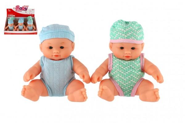 Miminko panenka pevné tělo plast 18cm 3 barvy 9ks v boxu