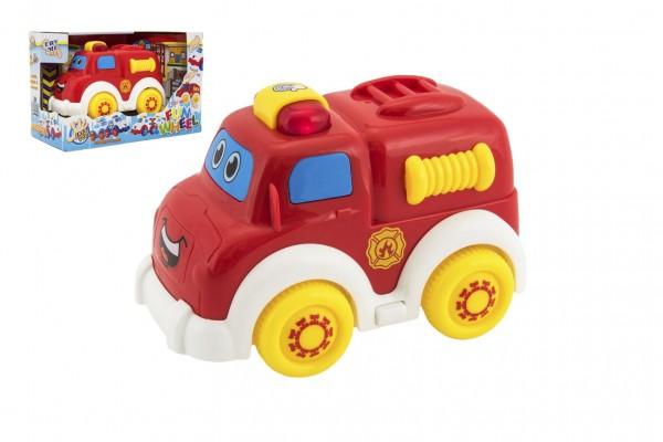 Auto hasiči pro nejmenší plast 15cm na volný chod na bat. se světlem se zvukem v krabičce 12m+