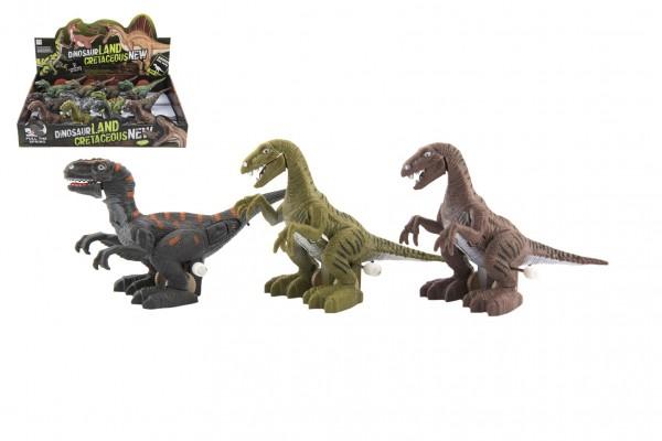 Dinosaurus natahovací jezdící plast 9x15cm na baterie se světlem mix druhů 12ks v boxu