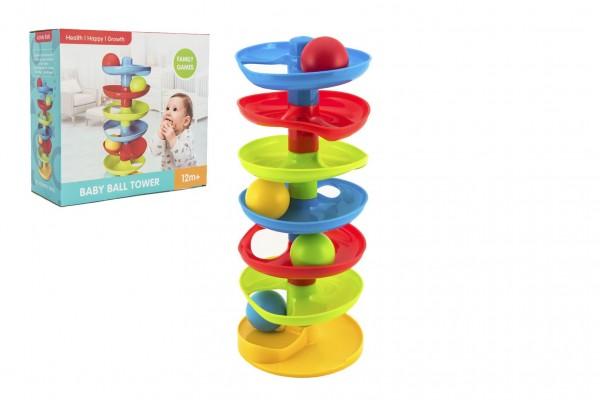 Kuličková dráha - věž plast s kuličkami v krabici 27x26x11cm 12m+