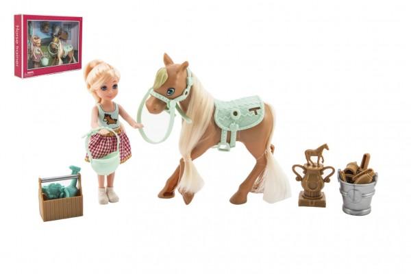 Panenka/žokejka 14cm kloubová s koněm plast s doplňky v krabici 30x23x6cm
