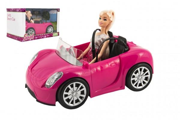 Panenka kloubová 30cm plast s autem na volný chod v krabici 32x20x20cm