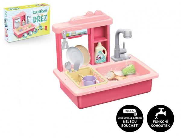 Dřez na mytí nádobí růžový + kohoutek na vodu na baterie plast s doplňky v krabici 46x28x12cm