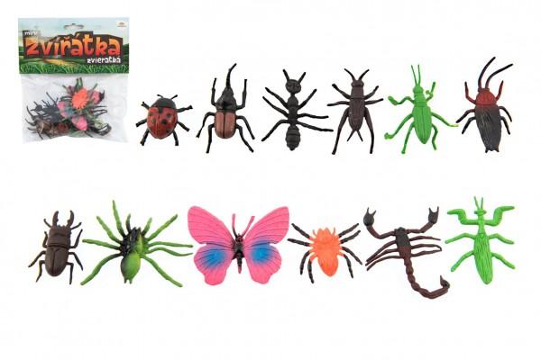 Hmyz/zvířátko mini plast 4-8cm 12 ks v sáčku
